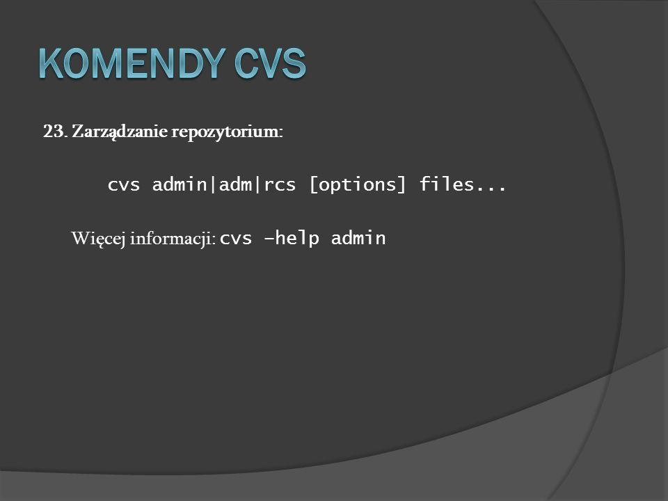 Komendy cvs 23. Zarządzanie repozytorium: cvs admin|adm|rcs [options] files...